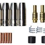 Omendo Verschleißteile Set passend MIG/MAG MB15 23 Teile | 5 x Gasdüse | 2 x Düsenstock | 10 x Stromdüse M6 0,8mm | 2 x Isolator | 3 x Haltefeder | 1 x Werkzeug