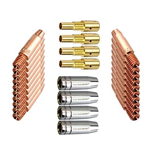 STAHLWERK MIG MAG Schweißzubehör AK-25/MB-25 Verschleißteile, Gasdüsen + Düsenträger + Stromdüsen für MIG MAG Schweißbrenner, Set 28-teilig
